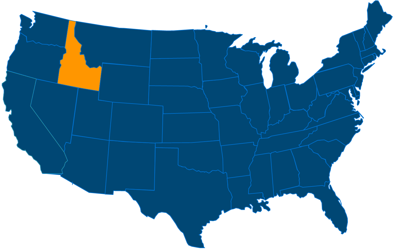 Service are map for All States Industrial Idaho locations