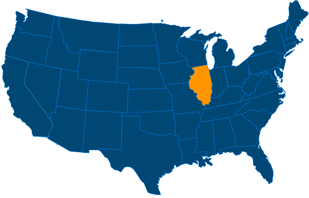 Service are map for All States Industrial Illinois locations