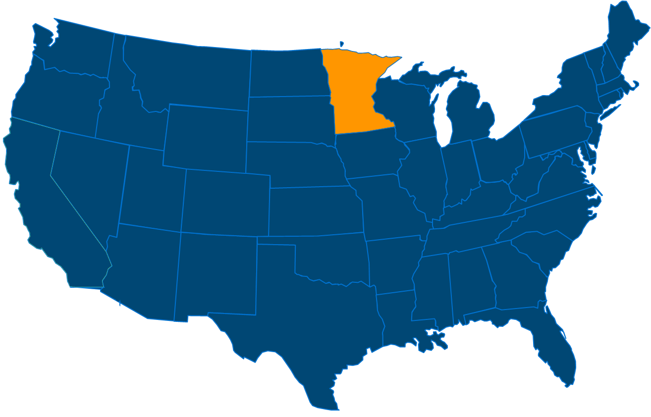 Service are map for All States Industrial Minnesota locations