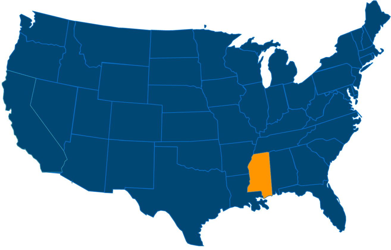 Service are map for All States Industrial Mississippi locations