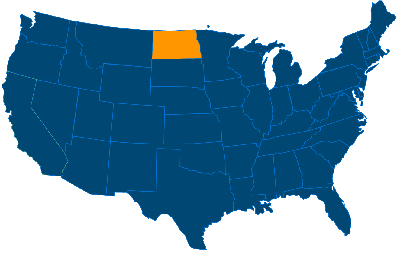 Service are map for All States Industrial North Dakota locations