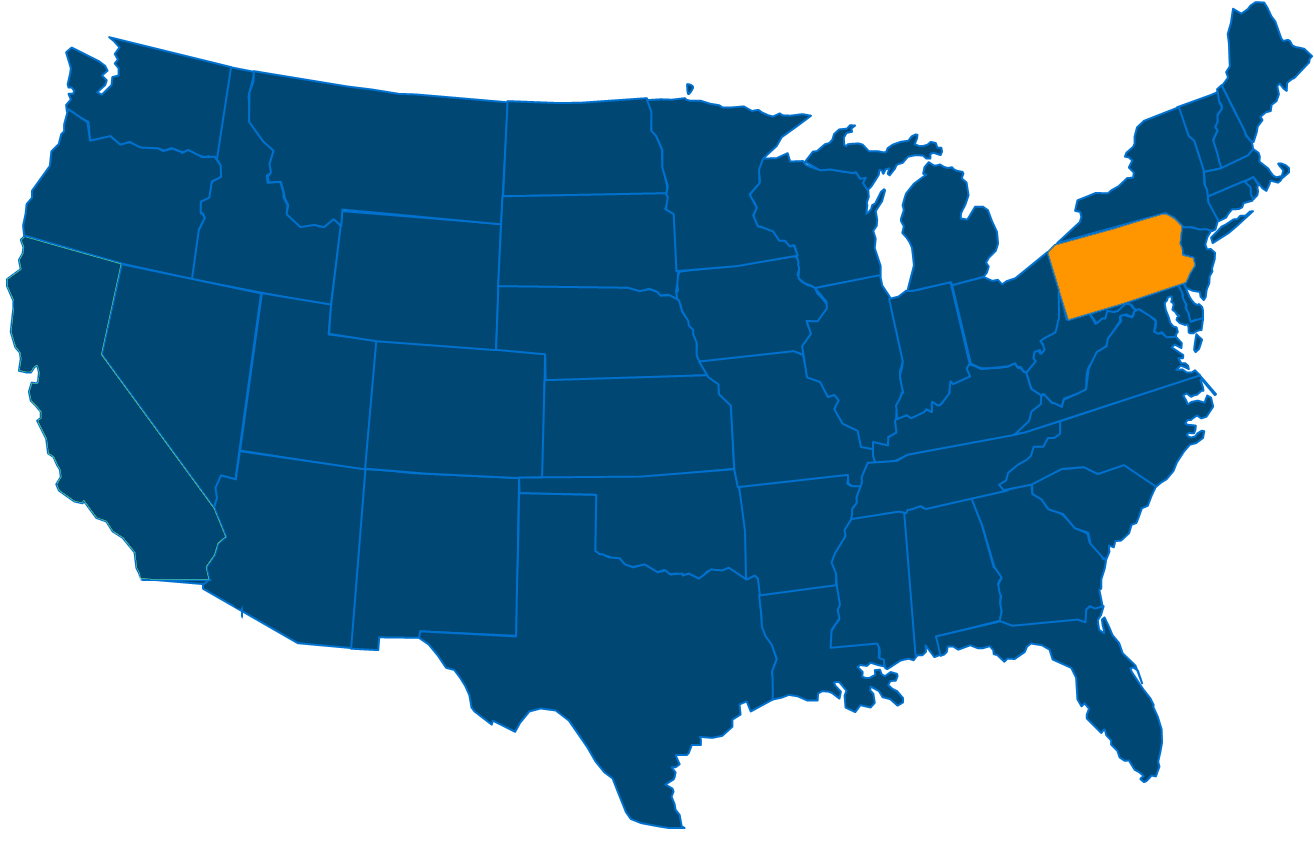 Service are map for All States Industrial Pennsylvania locations