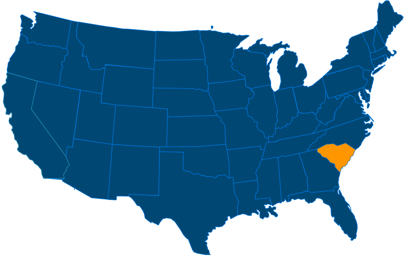 Service are map for All States Industrial South Carolina locations