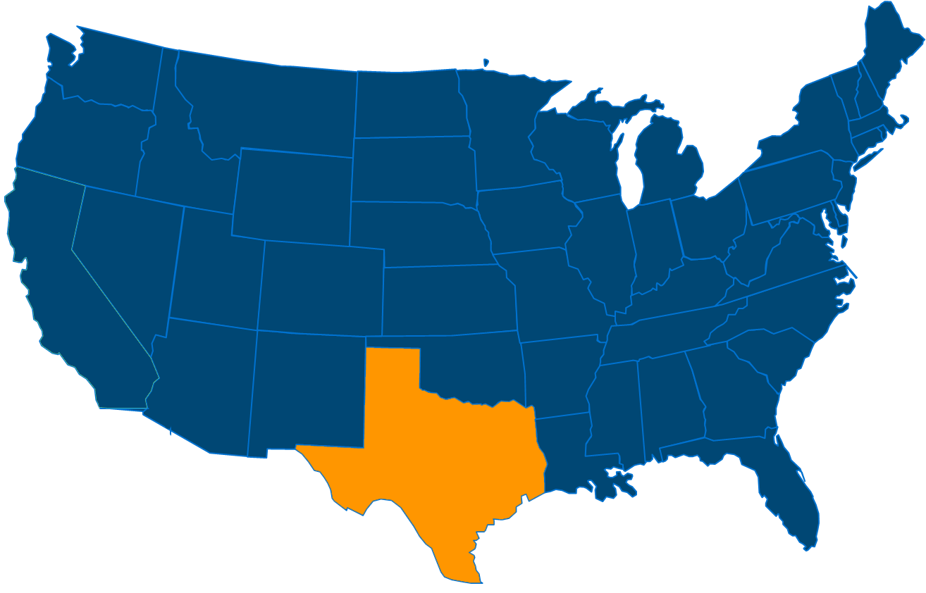 Service are map for All States Industrial Texas locations