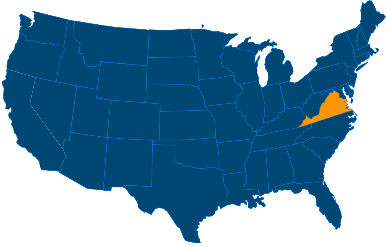 Service are map for All States Industrial Virginia locations
