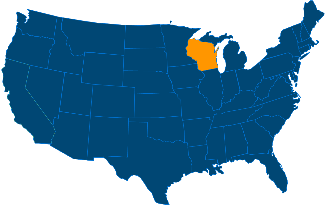 Service are map for All States Industrial Wisconsin locations