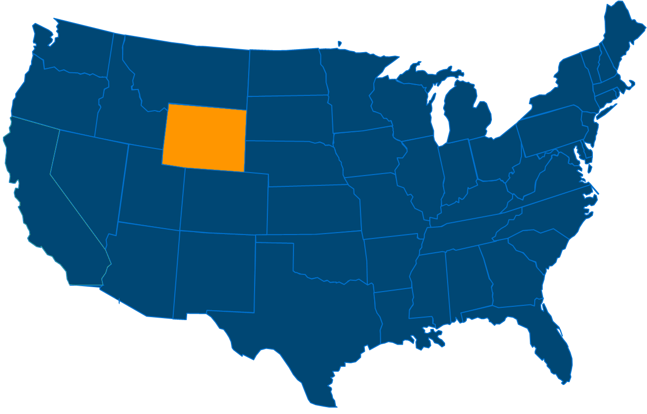 Service are map for All States Industrial Wyoming locations